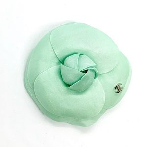 CHANEL Light Green Signed Camellia Flower Brooch